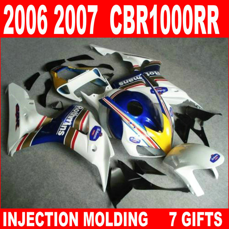 New hot moto parts fairing kit for Honda CBR1000RR 06 07 white black yellow injection mold fairings set CBR1000RR 2006 2007 RA13