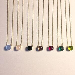 Image 4 - SLJELY collier à facettes carrées en cristal et en pierre, multicolore, de marque célèbre, bijou de fête pour femmes et filles à la mode
