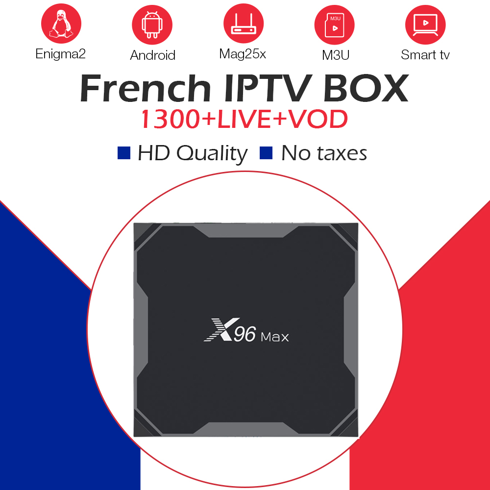 French iptv subscription x96 max tv box android 8 1 16G 32G 64G ROM 1200 NEOTV