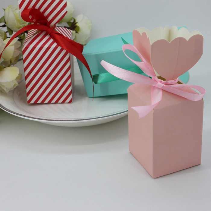 Saco de caixa de doces de chocolate do bolinho pacote de presente de papel para o Aniversário de Casamento Party favor suprimentos Decoração DIY flor projeto Wh