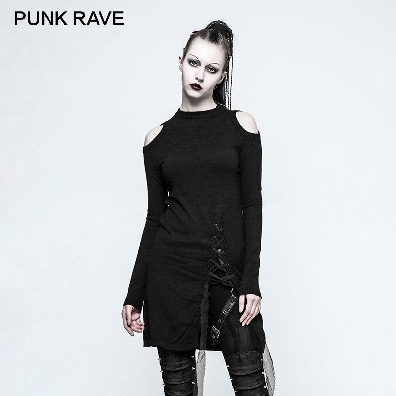 PUNK RAVE 2017 Gothic Women Knitted Sweater Winter Black Round Neck Strapless Long Ladies Sweaters Dress Rock Harajuku Sweater все цены