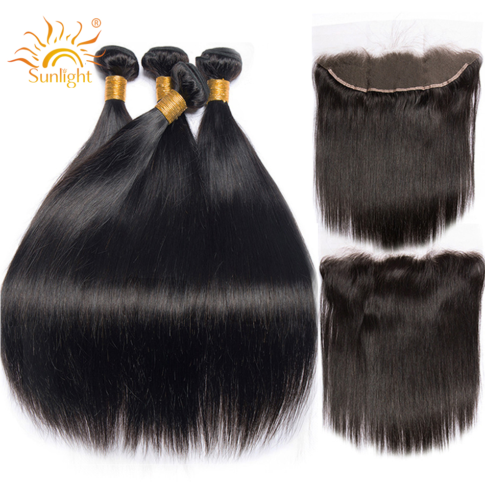 Peruvian Straight Hair Bundles With Frontal 3 4 Bundles Sunlight Human Hair With Lace Frontal Closure