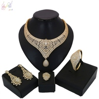 YULAILI 2018 Nigerian Wedding African Beads Jewelry Set Women Gold Color Bridal Ladies Costume Accessories