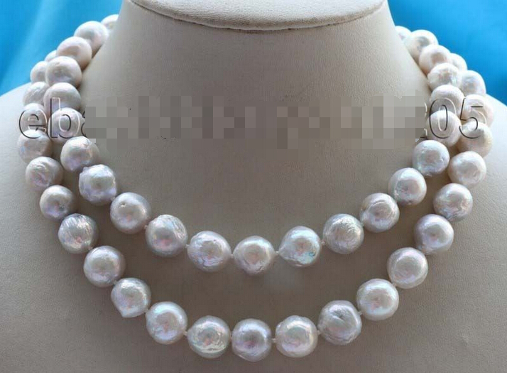"""free shipping W4T WT54 >>32"""" Genuine Natural 11-13mm White Reborn Keshi Pearl Necklace #f1683!"""