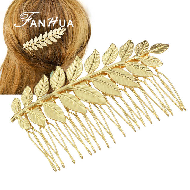 New Style Hair Jewelry  Individual Gold Silver Color Leaf Hair Comb Wedding Hair Accessories For Fashion Lady