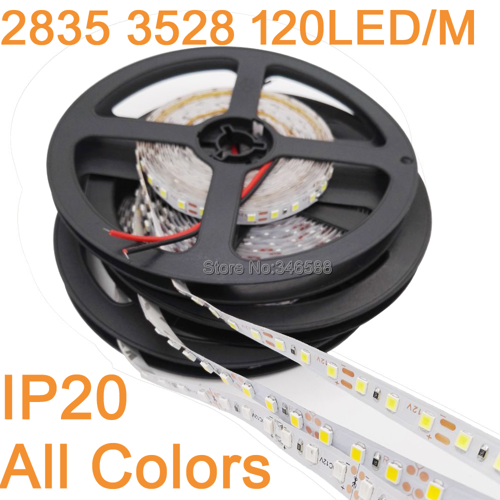 5M/lot IP20 Non-Waterproof 3528 2835 SMD 600LED Strip Light Ribbon Tape 120led/m WarmWhite Cool White Blue Green Red LED Stripe