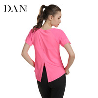 DANENJOY Women Yoga T Shirts Solid Color Sport Top Short Sleeve Vest For Fitness Running Quick Dry Breathable Loose Running Vest