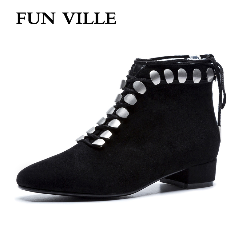 FUN VILLE 2018 New Fashion Autumn winter Women Ankle boots Natural Suede Black Square heel sexy ladies shoes Square Toe Lace up fun ville 2018 new fashion women flats shoes genuine leather sheepskin casual shoes square heel 4cm round toe lace up size 34 43