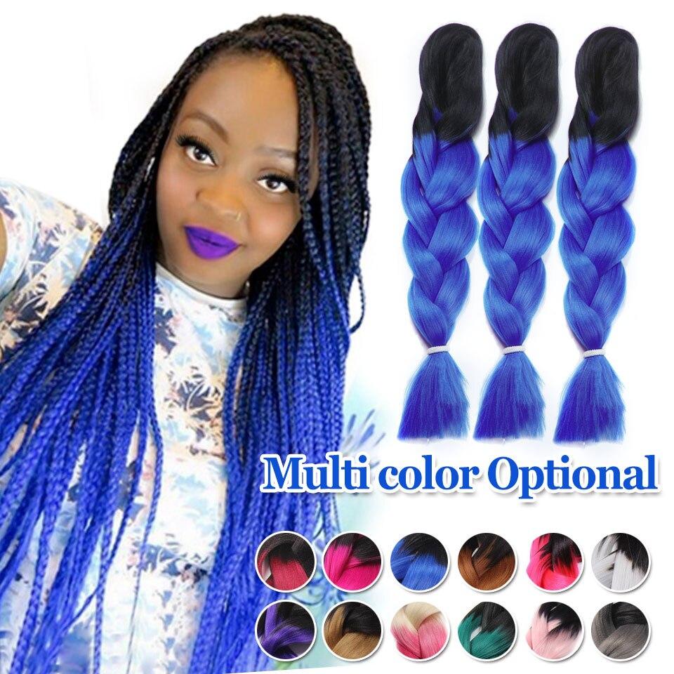 Marley Braid Hair Two Tone Purple Grey Blue Black