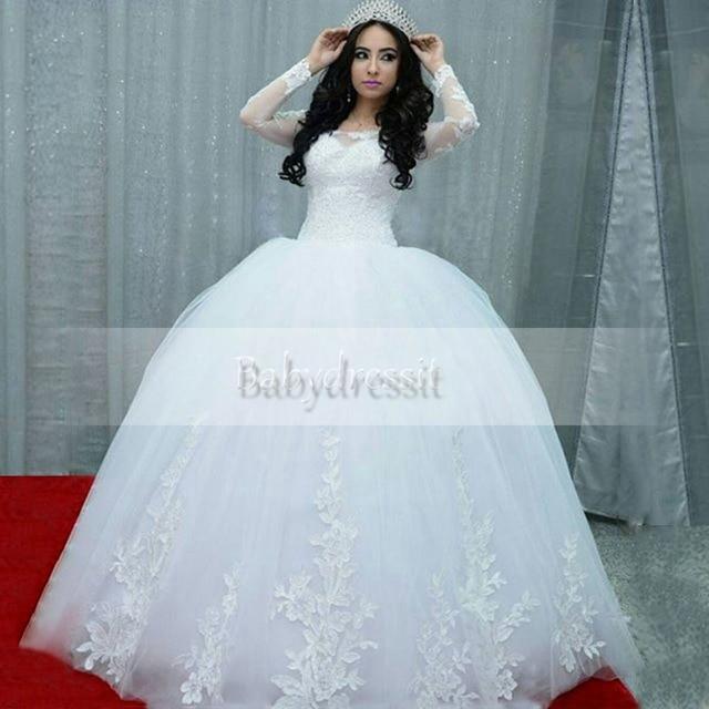 Vintage Long Sleeve White Wedding Dresses 2017 Tulle Ball Gown Floor ...
