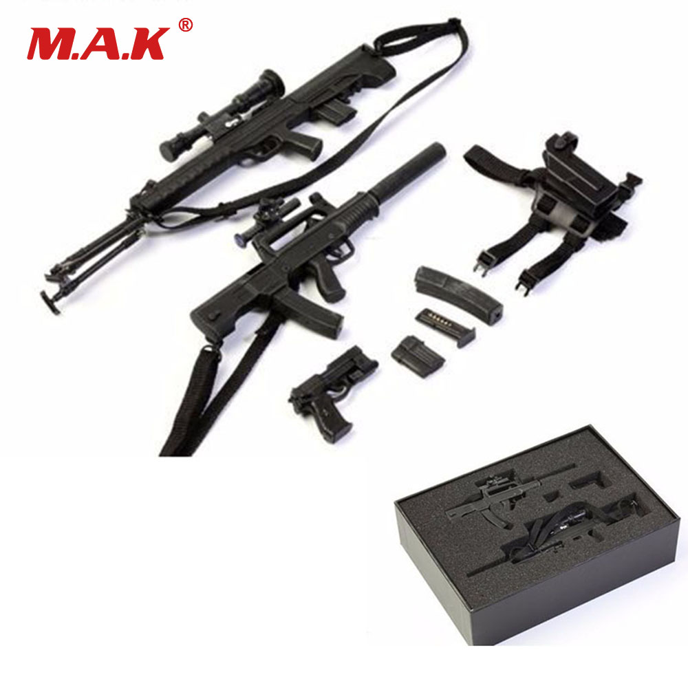1/6 Scale Soldier Figure Weapon Accessories Distressed Sniper Rifle Pistol Gun Model Toy with Box for Action Figure Dolls 1 6 scale plastics united states assault rifle gun m16a1 military action figure soldier toys parts accessory