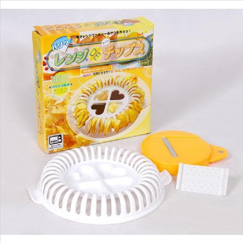 Free Shipping 1 Pcs Chips Maker Diy Microwave Oven Baked Grill Basket Cutter Potato