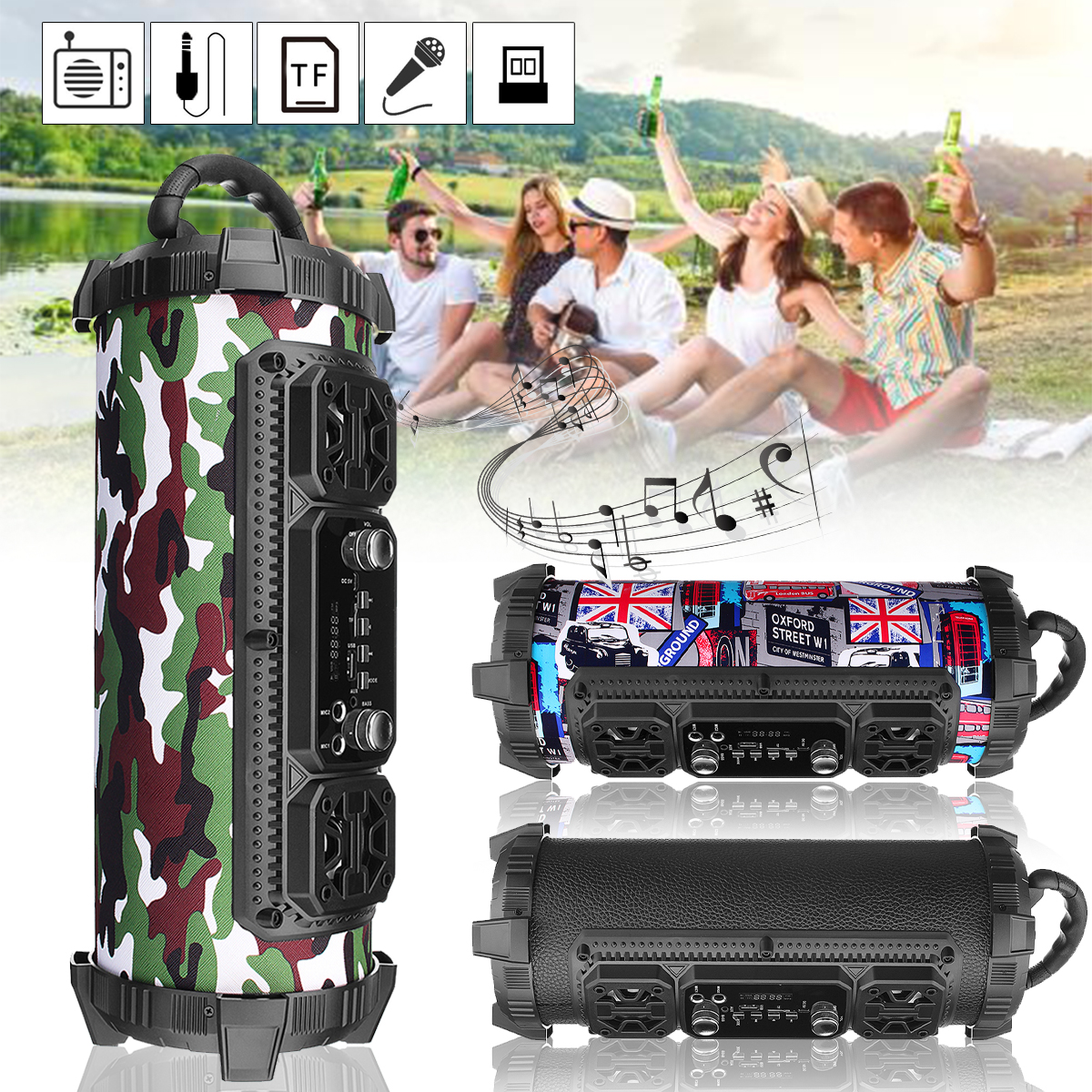 Portable Speakers 20W Wireless Bluetooth Speaker Stereo Sport Subwoofer Speaker Outdoor Radio Loundspeaker Wifi Bass Speaker digital treasures lyrix jive jumbo bluetooth speaker speakers retail packaging