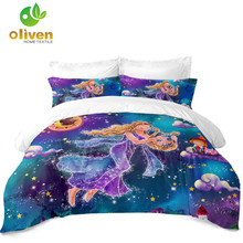Girls Princess Cartoon Bedding Set Colorful Virgo Constellation Duvet Cover Galaxy Print Twin Queen King Size D25