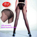 Langsha ultrathin bikini pantyhose stockings sexy bikini butterfly files crotch stockings