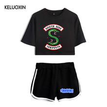 KELUOXIN Summer Sexy Two Piece Set Women Riverdale South Side Crop Tops + Shorts Pants Serpents Riverdale TV Show Suit Set(China)