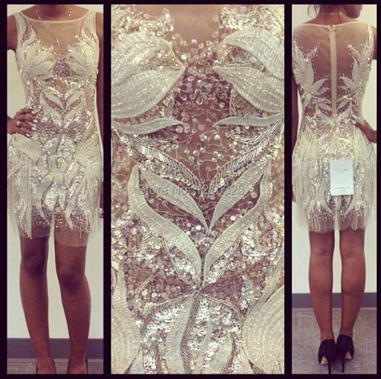Vestido coctel2018 new lace beaded tassel is sexy to see champagne cocktail dresses short luxurious prom party dress
