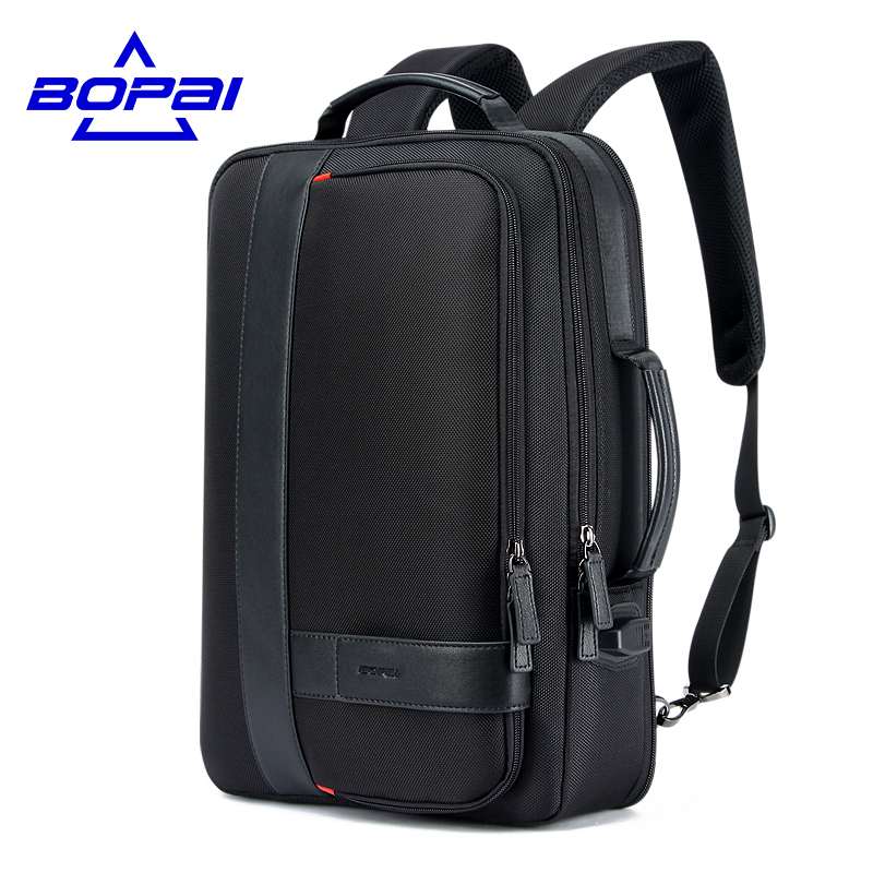 BOPAI Business Men's Backpack Black USB Charging Anti Theft Laptop Backpack 15.6 Inch Male Large Capacity College School Bags