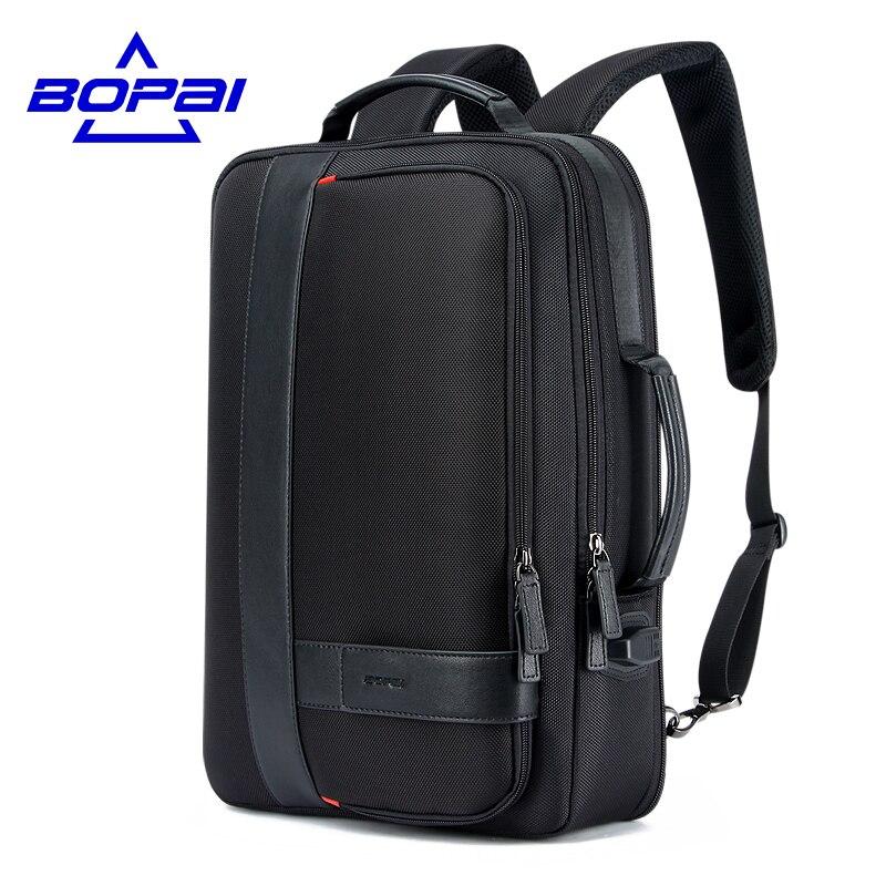 BOPAI Business font b Men s b font font b Backpack b font Black USB Charging