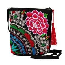 c3f8c7e0c Mujeres étnico hecho a mano bordado Floral lienzo monedero bolso de mano  bolso Vintage monedero moda