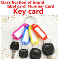 100pcs/lot Free ship Red Pink Green Blue Yellow Crystal Plastic Key Card Classification Brand Number Card Label Tags  Split Ring