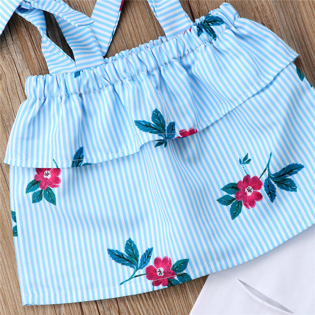 Summer Family Matching Mother Daughter Floral Print Striped Sleeveless Tops