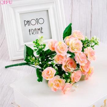 QIFU 30 cm Mini Rose 1 Bouquet 15 Flower Head Artificial Silk Flower Branches Fake Flowers Artificial Flowers For Decor Wedding heart shaped wedding ring pillow artificial rose flowers crystal fake pearls decor ring holder d1 decor