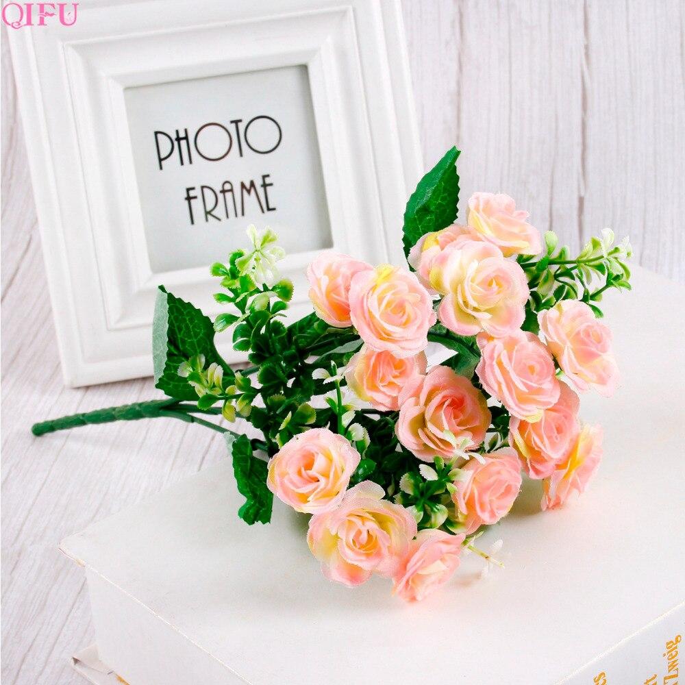 QIFU 30 cm Mini Rose 1 Bouquet 15 tête de fleur artificielle soie fleur Branches fausses fleurs fleurs artificielles pour décor mariage