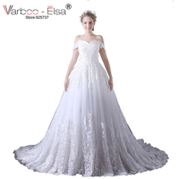 VARBOO ELSA Romantic Sweetheart White Lace Wedding Dress Short Sleeve Bridal Ball Gowns 2017 Sequined Beaded