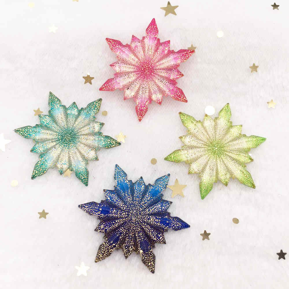 New 8pcs Bling Resin 42mm Colorful Ice Flower Flatback Rhinestone Ornaments DIY Wedding Appliques Craft W86