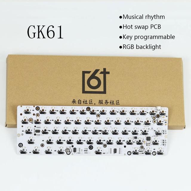 GK61 hot swap PCB mechanical keyboard GH60 RGB Backlight independent driver tyce c interface Musical rhythm Customization kit