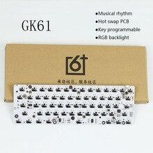 GK61 hot swap PCB mechanische toetsenbord GH60 RGB Backlight onafhankelijke driver tyce c interface Muzikale ritme Customization kit