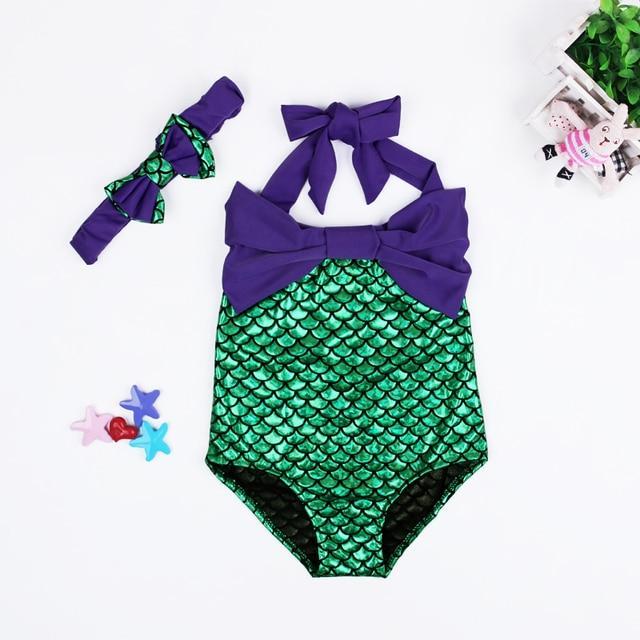 253f15676a Cute Girls Swimwear Mermaid Baby Bikini Sets Swimsuit + Bow Headband Kids Bathing  Suit Girls Beachwear Children Clothing