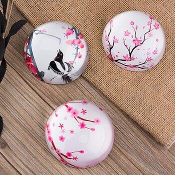 3 بوصة 3d أزهار الكرز الزخرفية الزجاج ثقالة الورق الكريستال الصقيل التعشيب عيد جزء النصف العالم هدية منزل الديكور