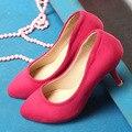 Китайский пр простой стиль сексуальная острым носом туфли на высоком каблуке удобные мед с фиолетовым черный синий красный женская обувь большого размера 21.5 ~ 27 см