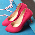 Chinese OL simple style sexy pointed toe pumps comfortable slip med with purple black blue red women's shoes big size 21.5~27cm