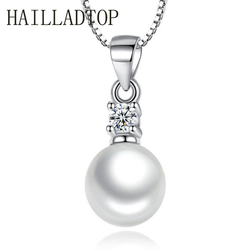 2018 Classic Silver Plated Pendant Necklace Simulated pearl Woman High Quality Crystal font b Jewelry b