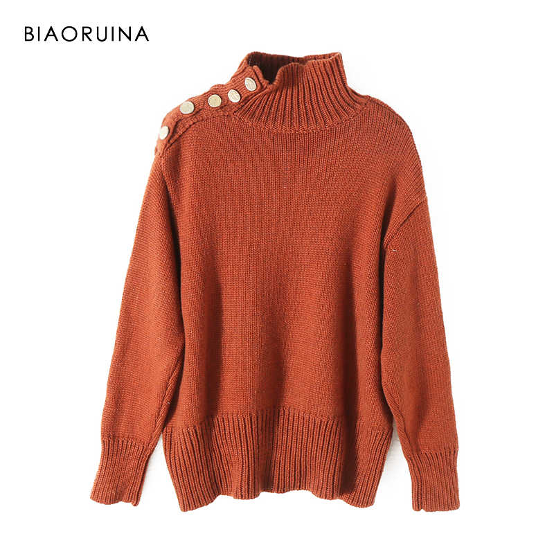 BIAORUINA Women's Oversized Solid Color Knitted Sweater Office Lady Casual Turtleneck Pullover Mental Buttons Fashion Sweaters