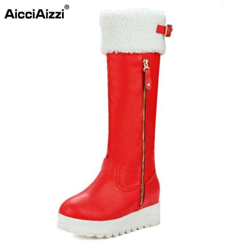 ФОТО Women Round Toe Platform Knee Boots Woman Fashion Zipper Knight Boots Female Warm Fur Winter Footwear Shoes Size 33-45