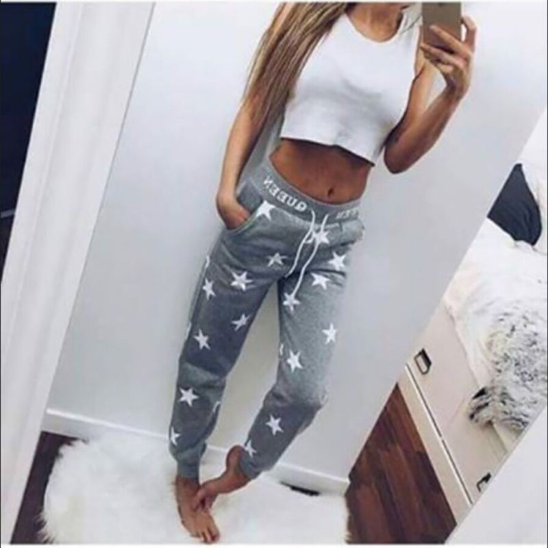 2 Colors High Quality 100% Cotton Loose Sport Pants Women Printed Star Long Trousers Training Sweatpants high quality mens jeans ripped colorful printed demin pants slim fit straight casual classic hip hop trousers ripped streetwear