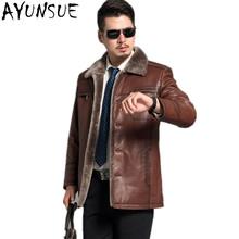 AYUNSUE Genunie Mens Leather Jackets Red Brown 2017 Winter Leather Men s Jacket Parka Goat Skin