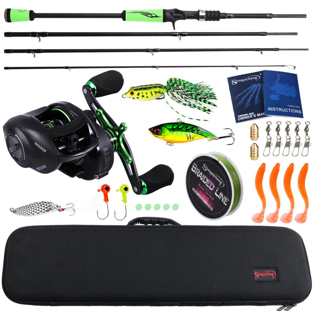 Sougayilang 4Section M Power Carbon Fiber Baitcsting Rod Full Kit  Casting Reel Set 100M Fishing Line Lures Hooks Jig Head Pesca