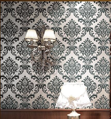 ФОТО Quality Designer 3D Classic Black  Damask  Velvet Fine Flocked  Wallpaper Roll sound-absorbing Living Room Wall Covering