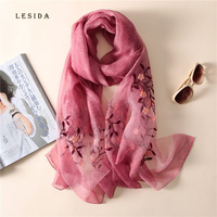 [LESIDA] Women Silk Wool Scarf Flower Embroidery Shawl Foulard Bandana Luxury Pashmina Poncho Stoles Quality Gift 190*85CM 3038