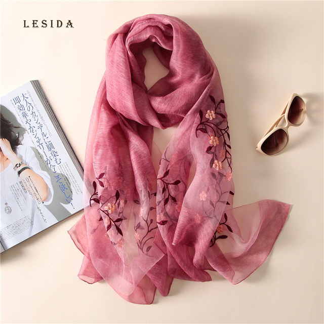 bd4b0a297e8e  LESIDA  femmes soie laine écharpe fleur broderie châle Foulard Bandana  luxe Pashmina Poncho étoles