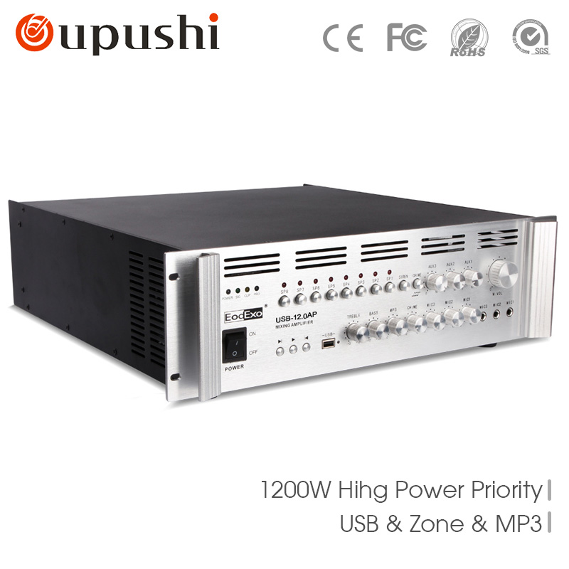 USB-12.0AP  1200w professional stage amplifier  with usb to School broadcasting system oupushi ak 123f usb black power amplifier 220v 50hz for stage 200w 200w