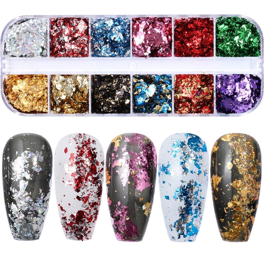 a63962d8b1 12 colors/set Aluminum Irregular Holographic Glitter Powder Nail Colorful  Flakes Manicure Nail Sequins Mirror Paillette Tips