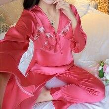 大サイズすべての季節長袖シルクパジャマのスーツの女性ラウンジパジャマセットシルクサテンのスパースターパジャマパジャマ