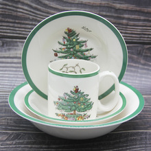 4 pcs/ Set  Christmas Tree Ceramic Dinnerware Breakfast Plate Beef Dishes Dessert Dish Fruit Snack Simple