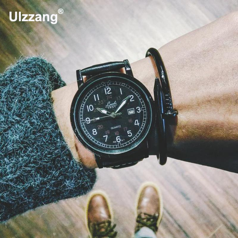 Classic Black Army Military Leather Round Dial /w Calendar Quartz Wrist Watch Clock Hours for Men Male Boy curren men watch with calendar round dial leather watchband
